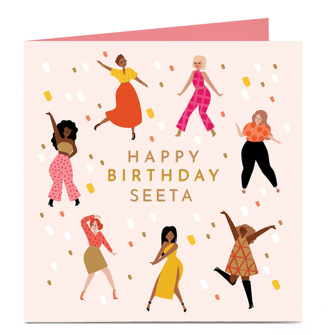 Personalised Charity Birthday Card - Dancing Ladies
