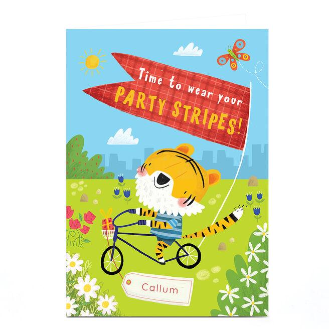 Personalised Jordan Wray Birthday Card - Party Stripes