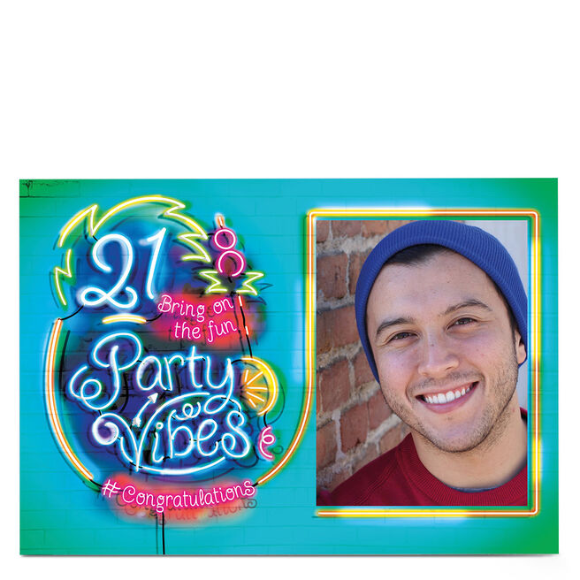 Photo 21st Birthday Card - Party Vibes, Neon Sign