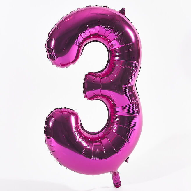 Pink Number 3 Foil Giant Helium Balloon