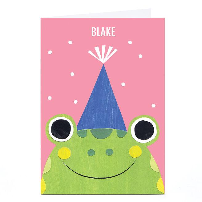 Personalised Art Kids Birthday Card - Frog