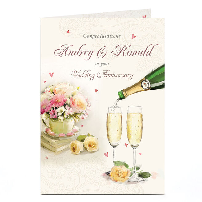 Personalised Anniversary Card - Champagne Flutes & Flowers