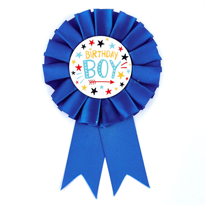 Birthday Boy Blue Rosette Badge