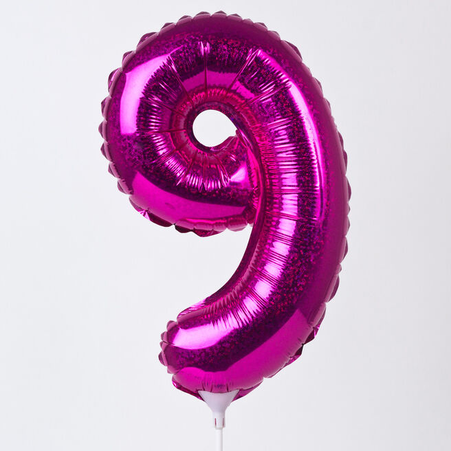 Holographic Pink Number 9 Balloon On A Stick
