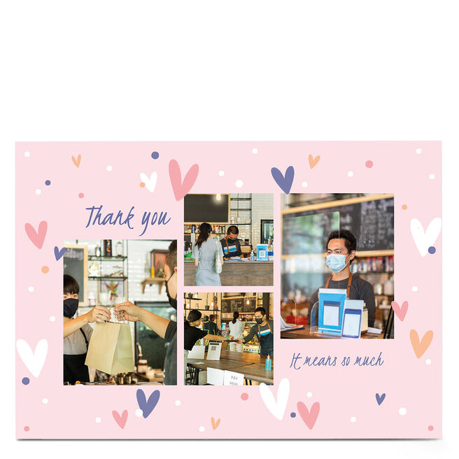 Photo Thank You Card - Hearts & Any Message