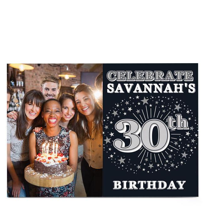 Photo 30th Birthday Invitation - Silver Stars
