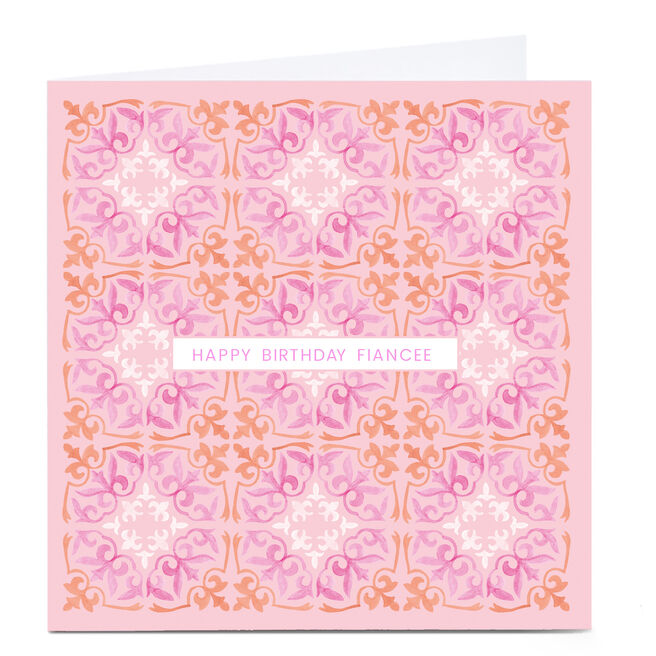 Personalised Birthday Card - Pink and Orange Mosaic