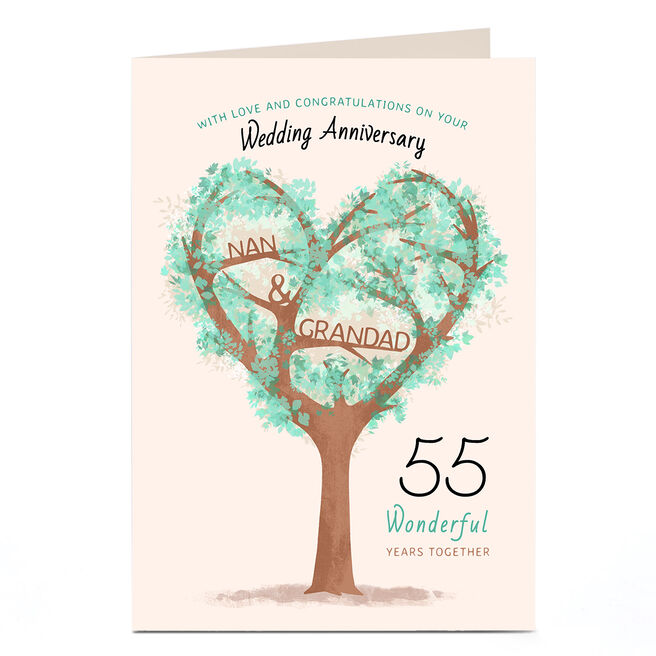 Personalised Anniversary Card - Years Together Tree