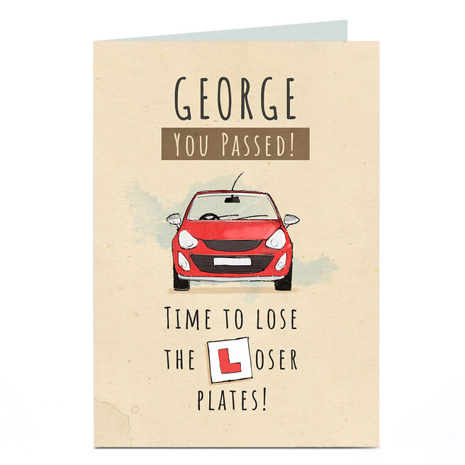 Personalised Congratulations Card - You've Passed! Loser Plates