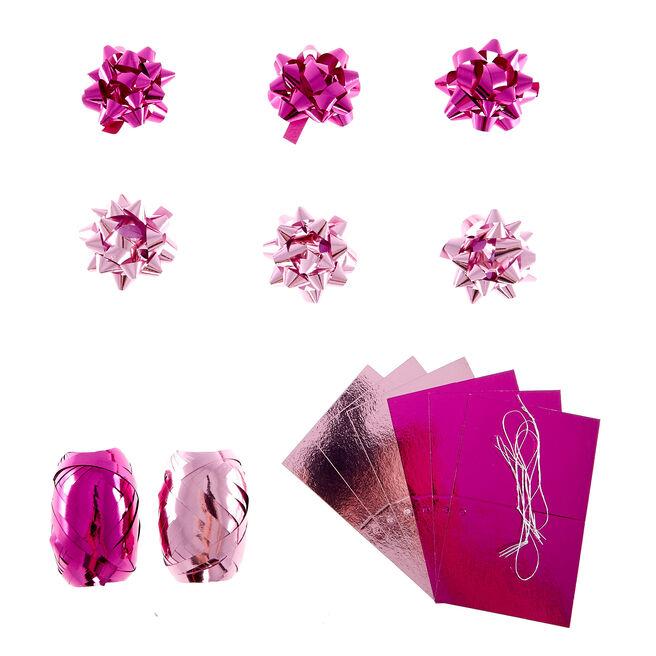 Light & Dark Pink Gift Bow, Tag & Ribbon Set