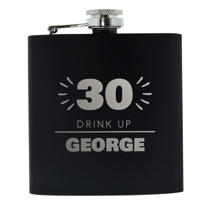 Personalised 30th Birthday Hip Flask - Black & Silver