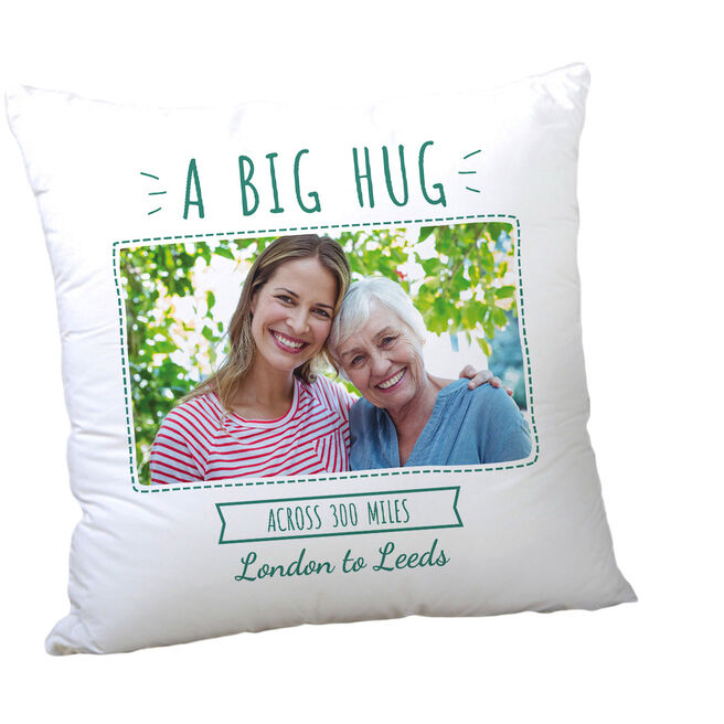 Personalised Mother's Day Photo Cushion - A Big Hug Across The Miles
