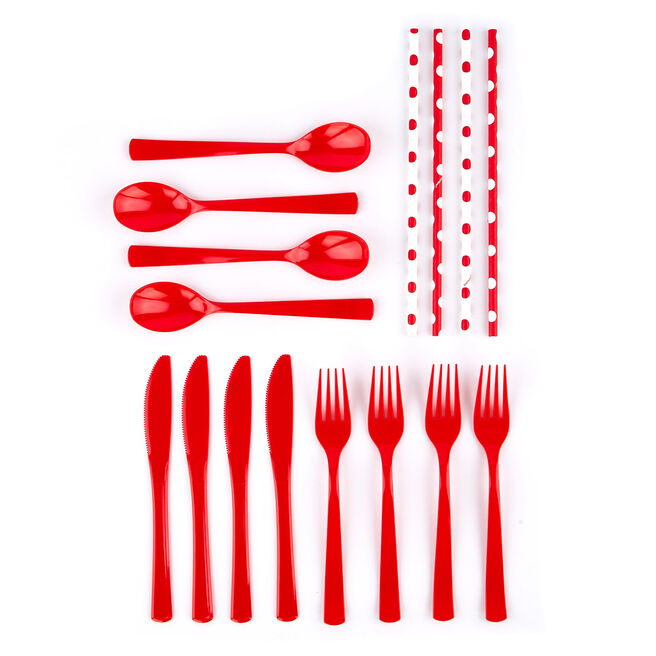 Red Cutlery & Paper Straws Party Kit - 74 Pieces