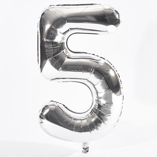 Silver Number 5 Foil Giant Helium Balloon (Deflated)