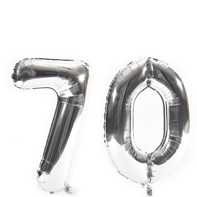 Age 70 Giant Foil Helium Numeral Balloons - Silver (deflated)