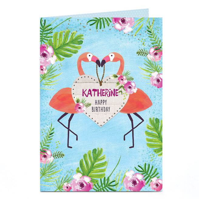 Personalised Birthday Card - Tropical Flamingos