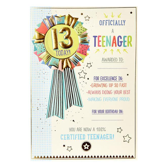 13th Birthday Card - Official Teenager Award
