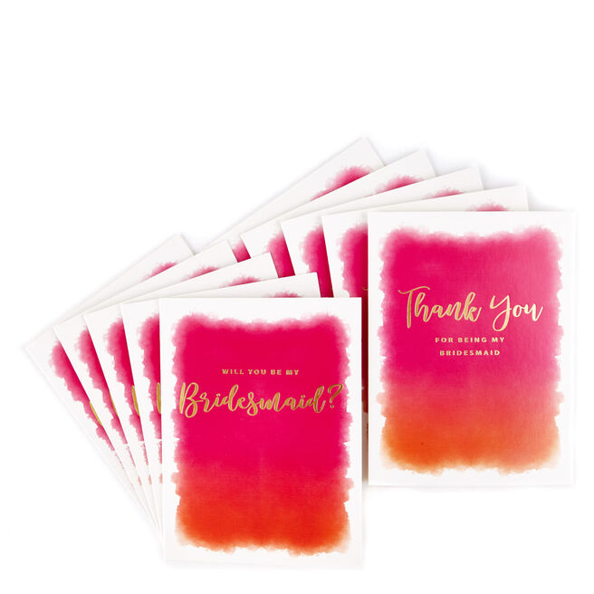 Bridesmaid Request & Thank You Cards - Pack of 10