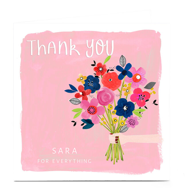 Personalised Kerry Spurling Thank You Card - Flowers