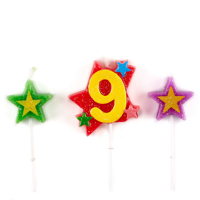 Number 9 Star Birthday Candles - Pack Of 3