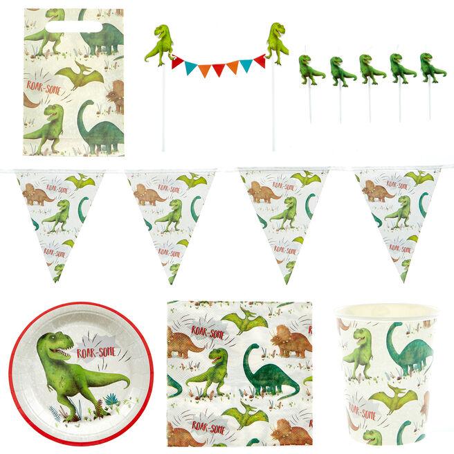 Roar-Some Dinosaur Party Tableware & Decorations Bundle - 8 Guests