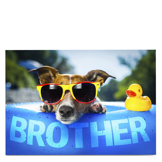 Personalised Card - Dog In Sunglasses, Brother