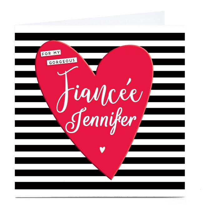Personalised Card - Fiancee Monochrome Stripe