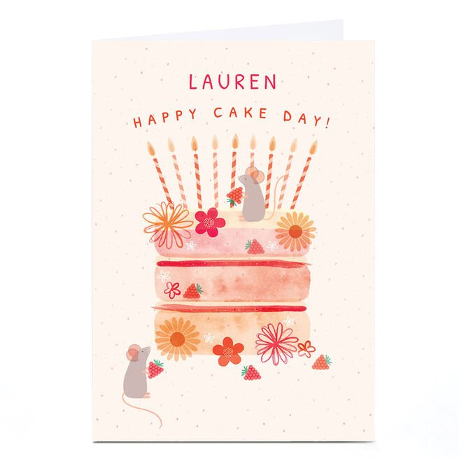 Personalised Hannah Steele Birthday Card - Happy Cake Day