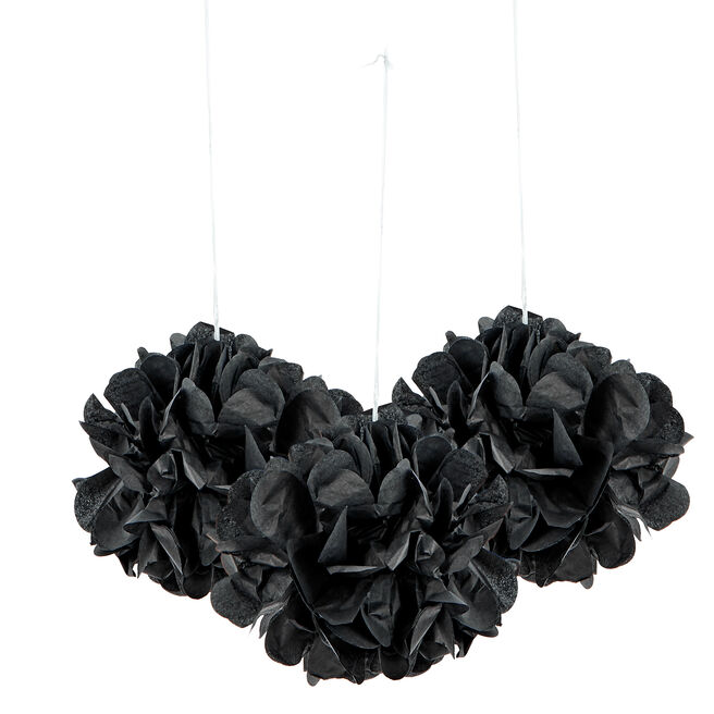 Mini Tissue Paper Pom-Pom Party Decorations - Black (Pack Of 3)