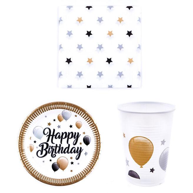 Black & Gold Birthday Party Tableware Bundle - 36 Pieces