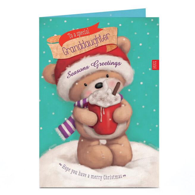 Personalised Christmas Card - Hugs Bear Hot Chocolate Granddaughter