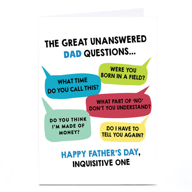 Personalised Father's Day Card - Unanswered Dad Questions