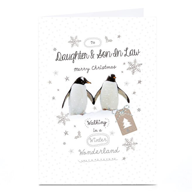 Personalised Christmas Card - Penguins - Daughter and Son-In-Law
