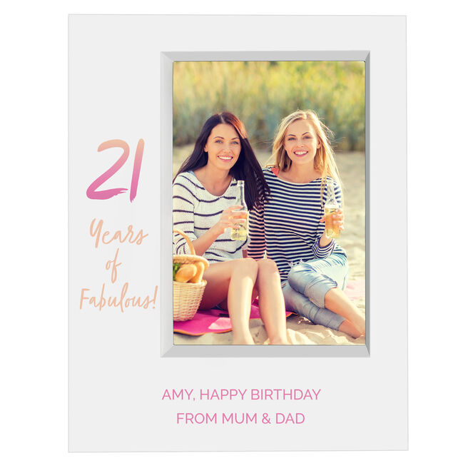 Personalised 21st Birthday Box Photo Frame - Pastel Gradient