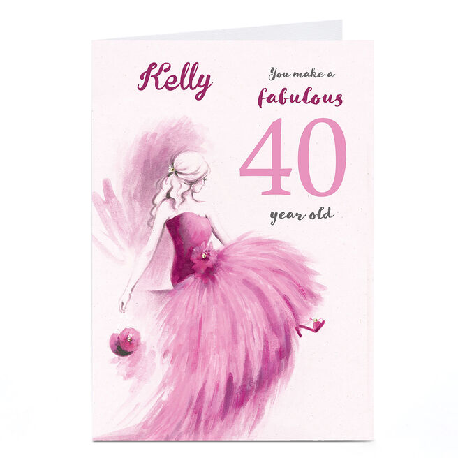 Personalised Any Age Birthday Card - Pink Fabulous Lady
