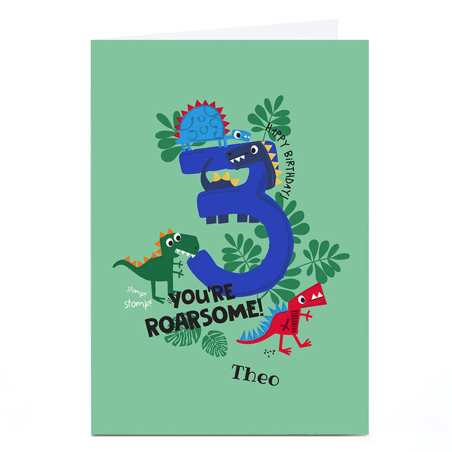Personalised Rachel Griffin Birthday Card - 3, You're Roarsome!