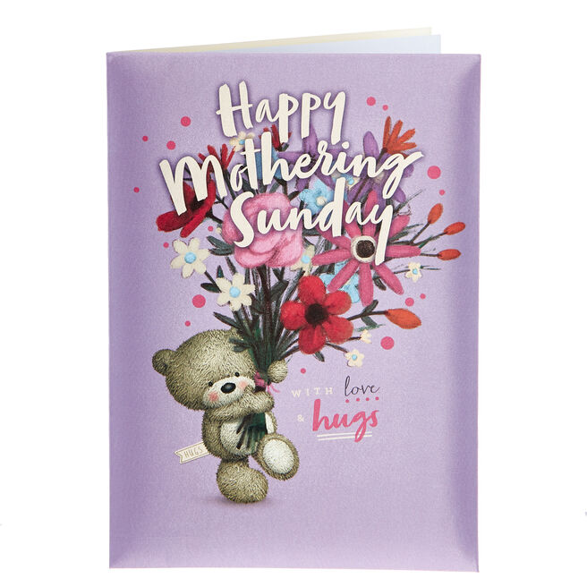 Satin Collection Hugs Bear Mother's Day Card - Mothering Sunday