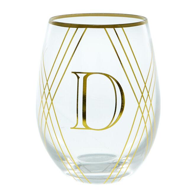 Letter D Glass Tumbler