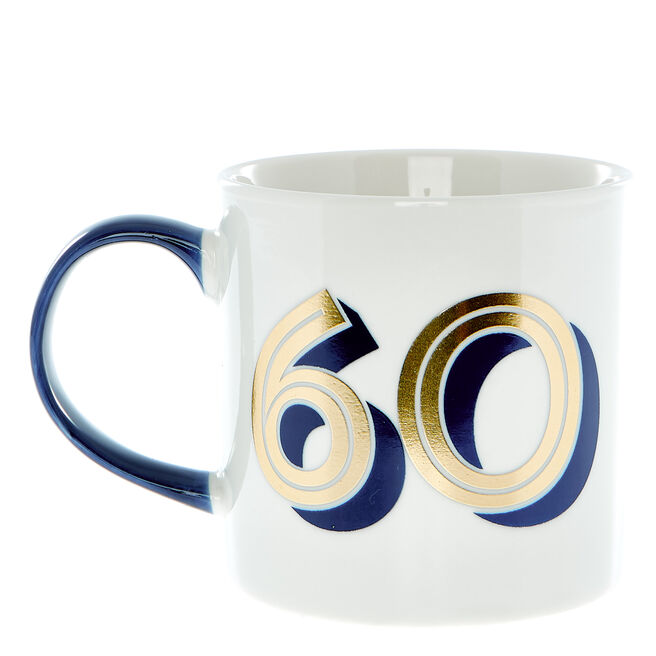 60th Birthday Mug In A Box - Blue & Gold