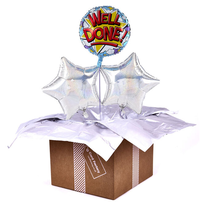 Well Done Silver Balloon Bouquet - DELIVERED INFLATED!