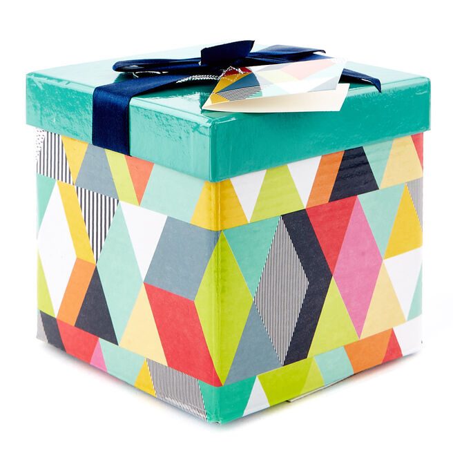 Small Flat-Pack Gift Box - Geometric Pattern