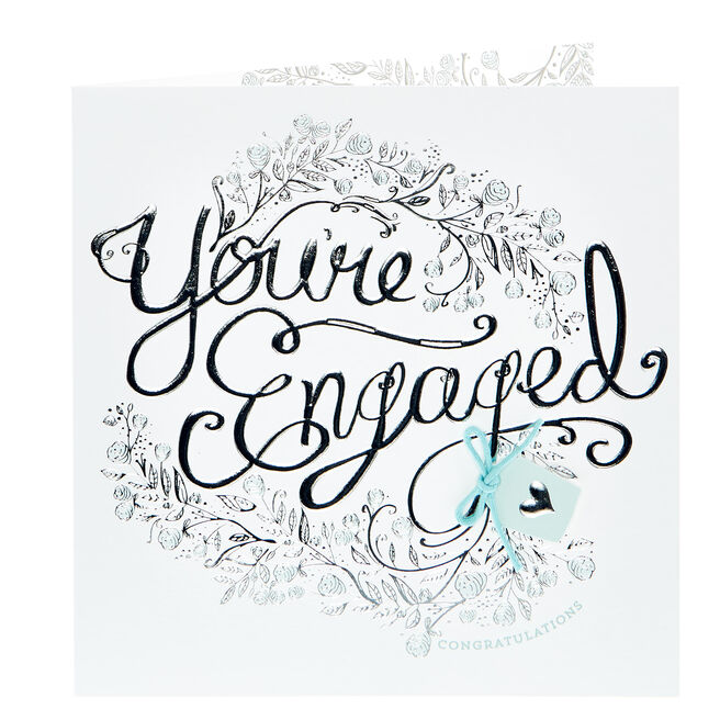 Boutique Collection Engagement Card - Silver Flowers