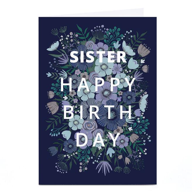 Personalised Dalia Clark Birthday Card -  Blue Floral Burst