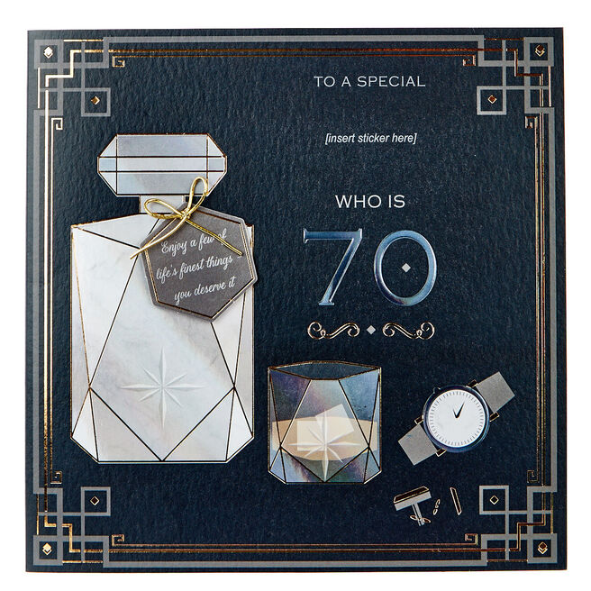 Exquisite Collection 70th Birthday Card - Any Male Recipient (Stickers Included)