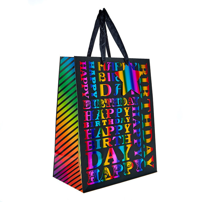 Medium Portrait Gift Bag - Rainbow Letters