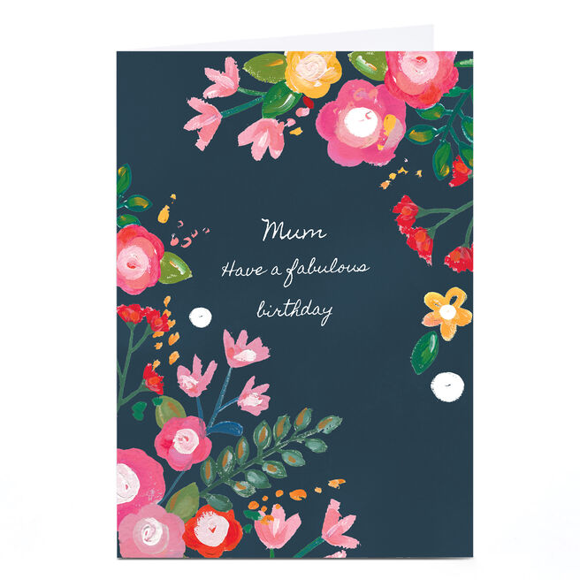 Personalised Kerry Spurling Card - Navy Florals