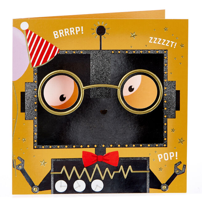 Birthday Card - Silver Robot