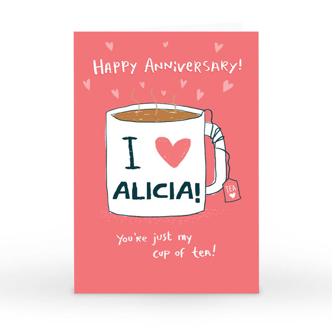 Personalised Hew Ma Anniversary Card - My Cup Of Tea!
