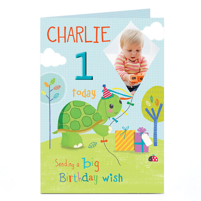 Photo Any Age Birthday Card - Turtle With Kite