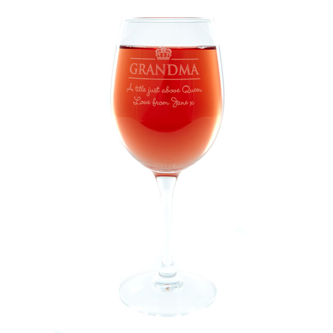 Personalised Wine Glass - Grandma Crown